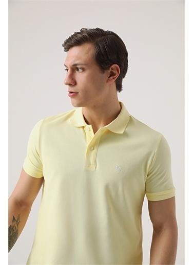D'S Damat Ds Damat Regular Fit Sarı Pike Dokulu T-Shirt Sarı